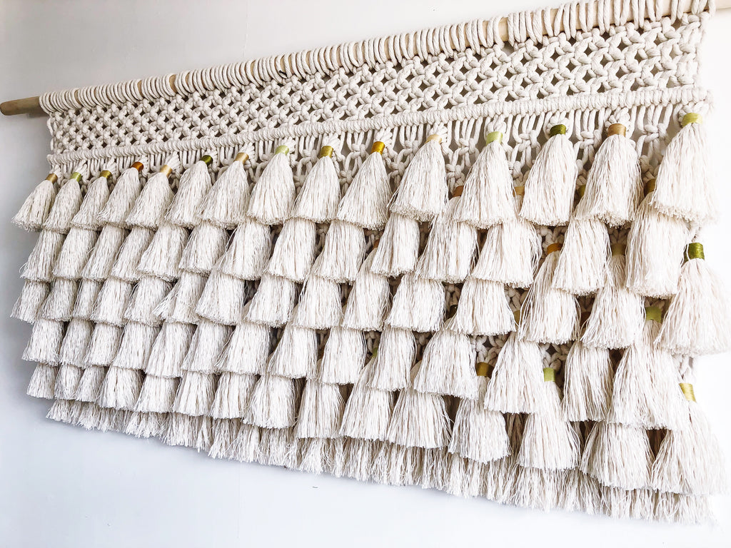 Tassel Wall Hanging // yellows and greens