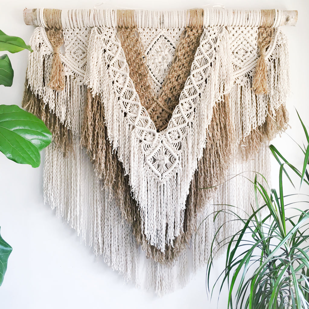 Mixed Jute and Cotton Rope Macrame