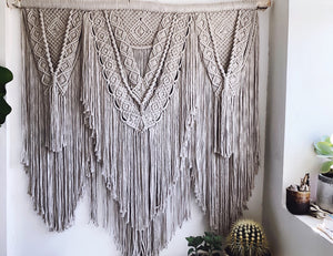 Layered Macrame Wall Hanging // beige/grey