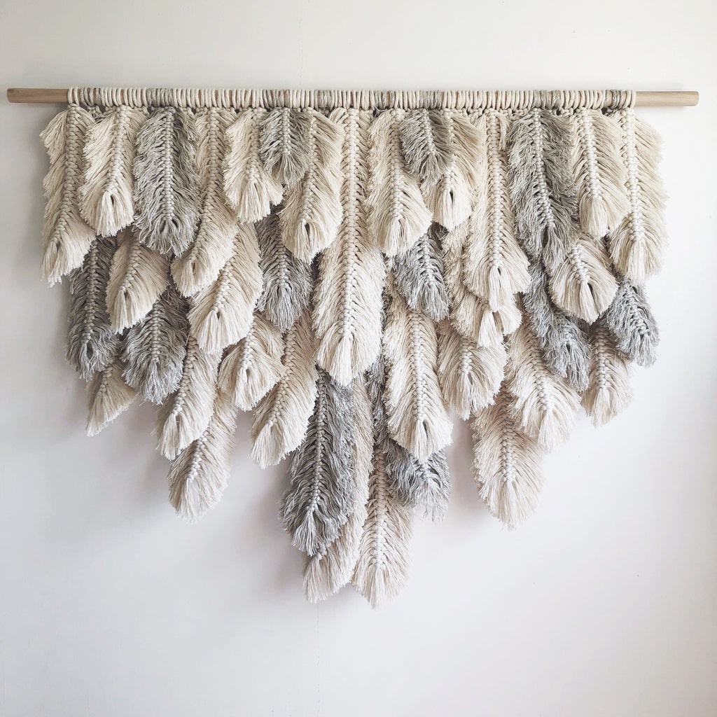 Large Linen + Natural Feathers
