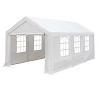 10 x 20-Feet Heavy Duty Domain Carport, Car Canopy Shelter with Windows and Sidewalls, White