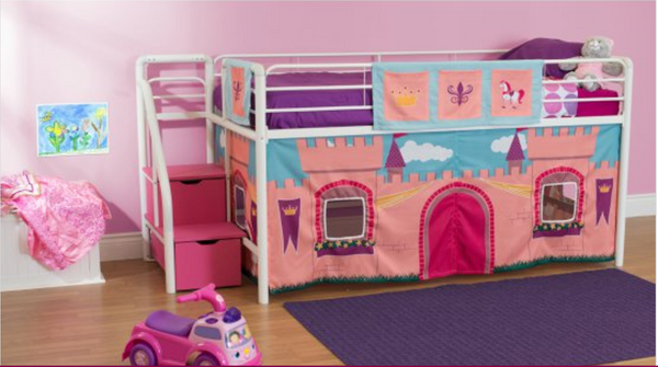 Princess Castle Junior Loft with Pink Steps and Storage - White