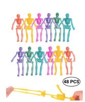 48 Pack Stretchy Skeleton 4 inches Bulk Set 9 Glitter Colors