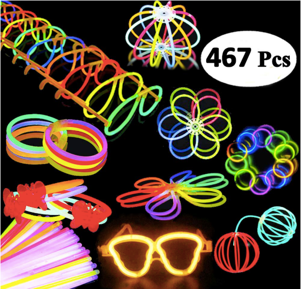 200 Glow Sticks 467Pcs Glow Party Favors for Kids/Adults: 200 Glowsticks Party Packs 7 colors+ Connectors for Glow Necklace, Flower Balls, Luminous Glasses and Triple/Butterfly Bracelets