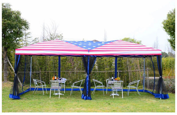4th of July 10' x 20' Easy-Pop Up Canopy Tent with Removable Sides - American Flag Print