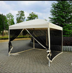 Silver or Beige 10x10 Pop-up Canopy Tent with Detachable Mesh walls