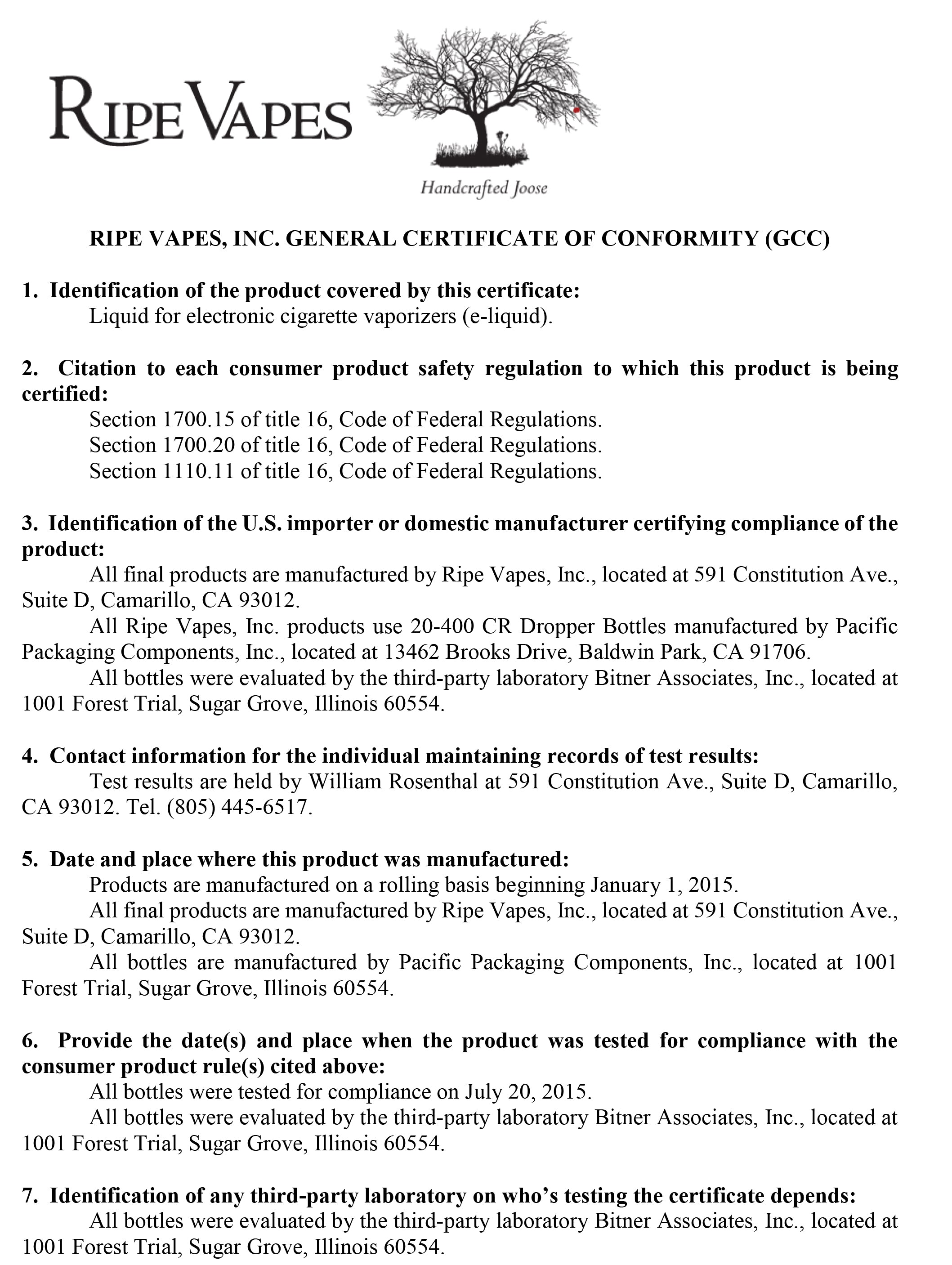 General certificate of conformity gcc vape society supply ripe vapes alramifo Choice Image