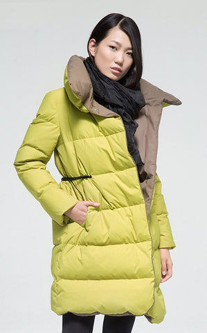 Female Medium-long Tiebelt soft down Coat