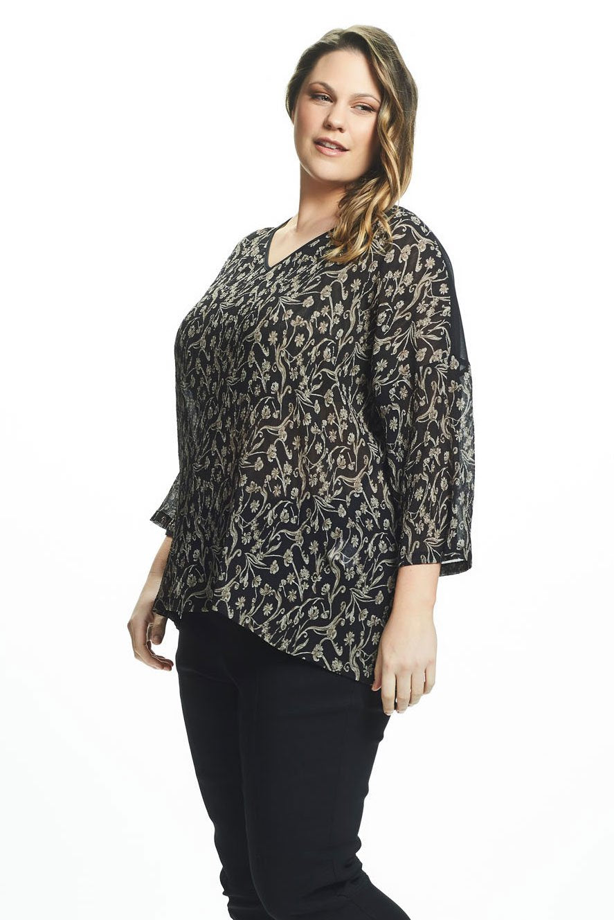 Rebirth Boxy 3/4 Sleeve Top By Avocado Plus