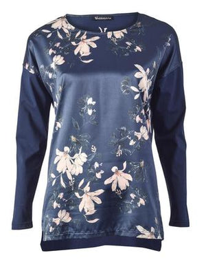Blushing Navy Printed Top by Vassalli
