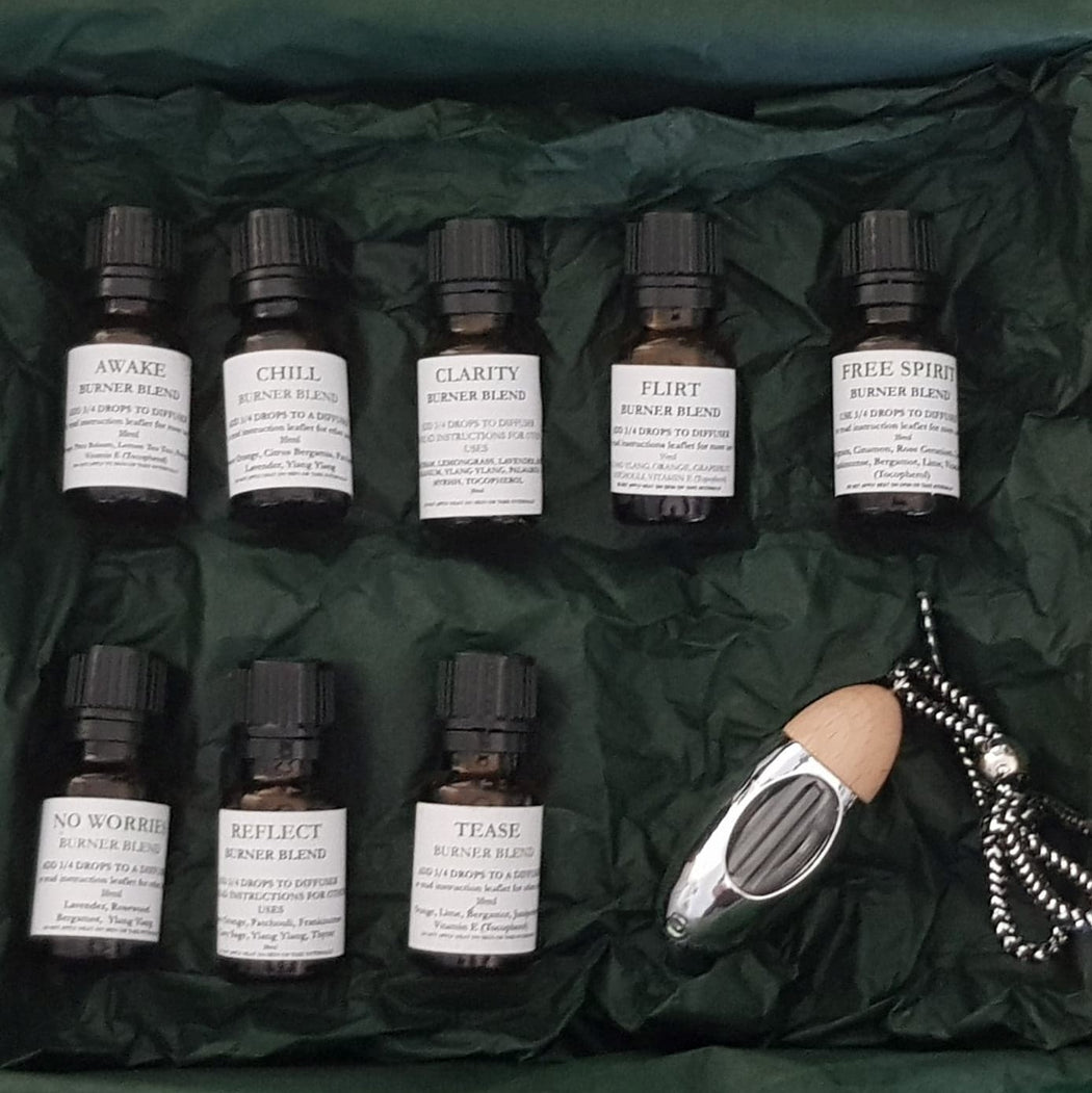 9 Piece Pure Blend Oil Set & Silver Diffuser