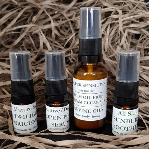 Devine Oils. Trial Skincare Set Mix & Match. 4 Trial products - Helping your skin concerns naturally.  Palm Oil Free. Accredited Cruelty Free. 100% Plant Based Vegan Oils for face body home. Try it out and give our Plant Based Skincare a go.