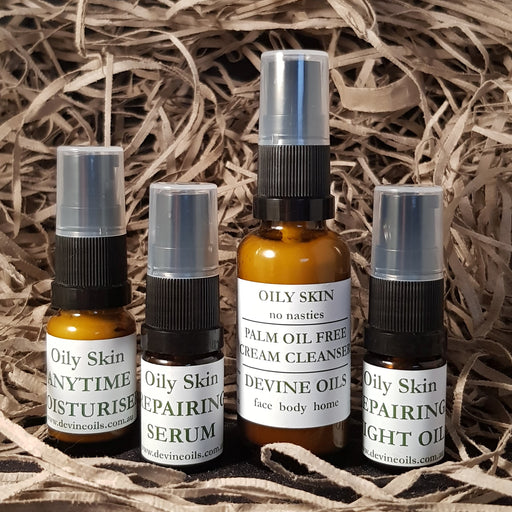 Devine Oils Palm Oil Free Trial Set for Oily, Acne Prone and Teenage Skin. Try it out and give our Plant Based Skincare a try.