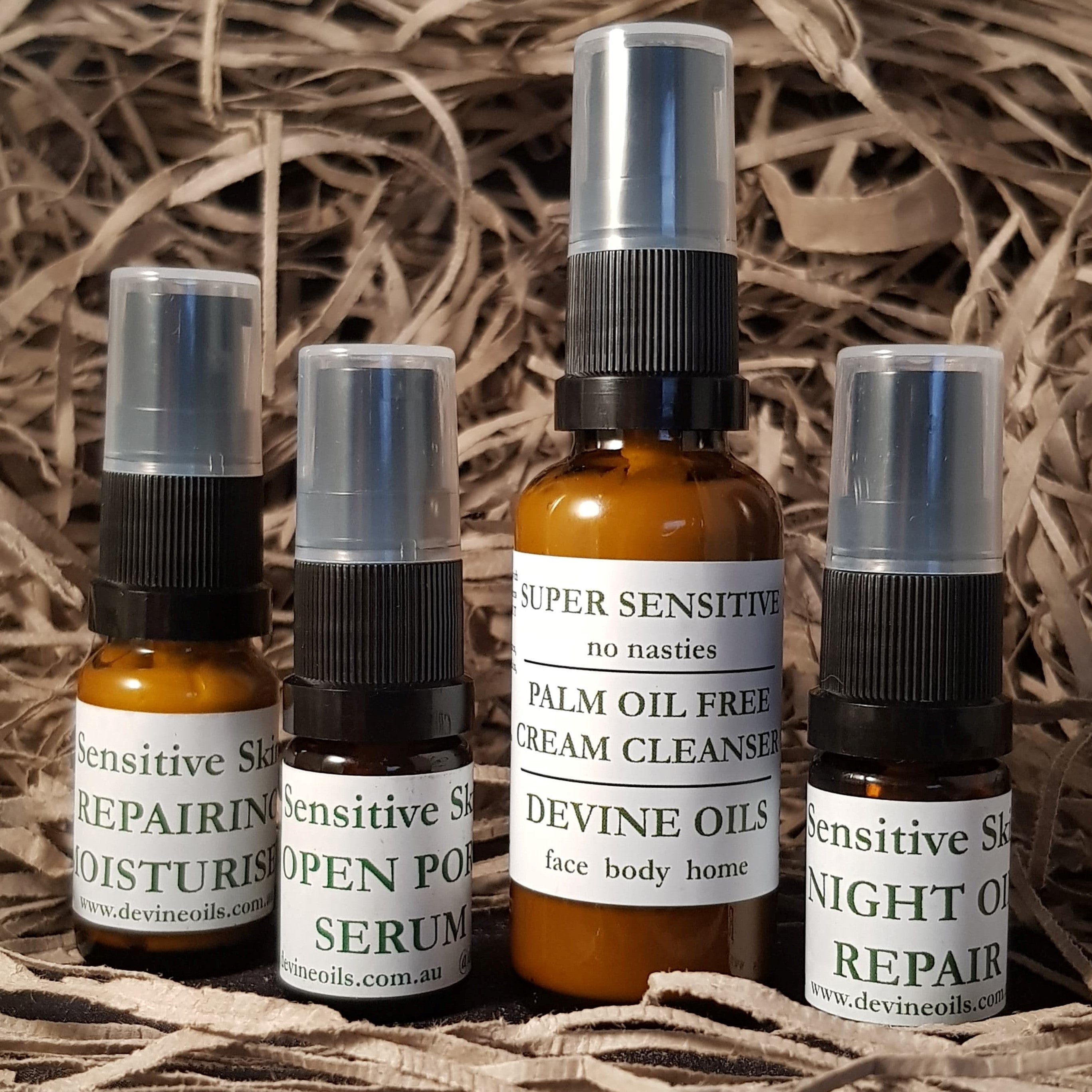 Devine Oils. Trial Skincare Set for Sensitive Skin types. Helping to calm redness, regenerate cell production, tightening pores for your skin to glow.  Palm Oil Free. Accredited Cruelty Free. 100% Plant Based Vegan Oils for face body home. Try it out and give our Plant Based Skincare a go.