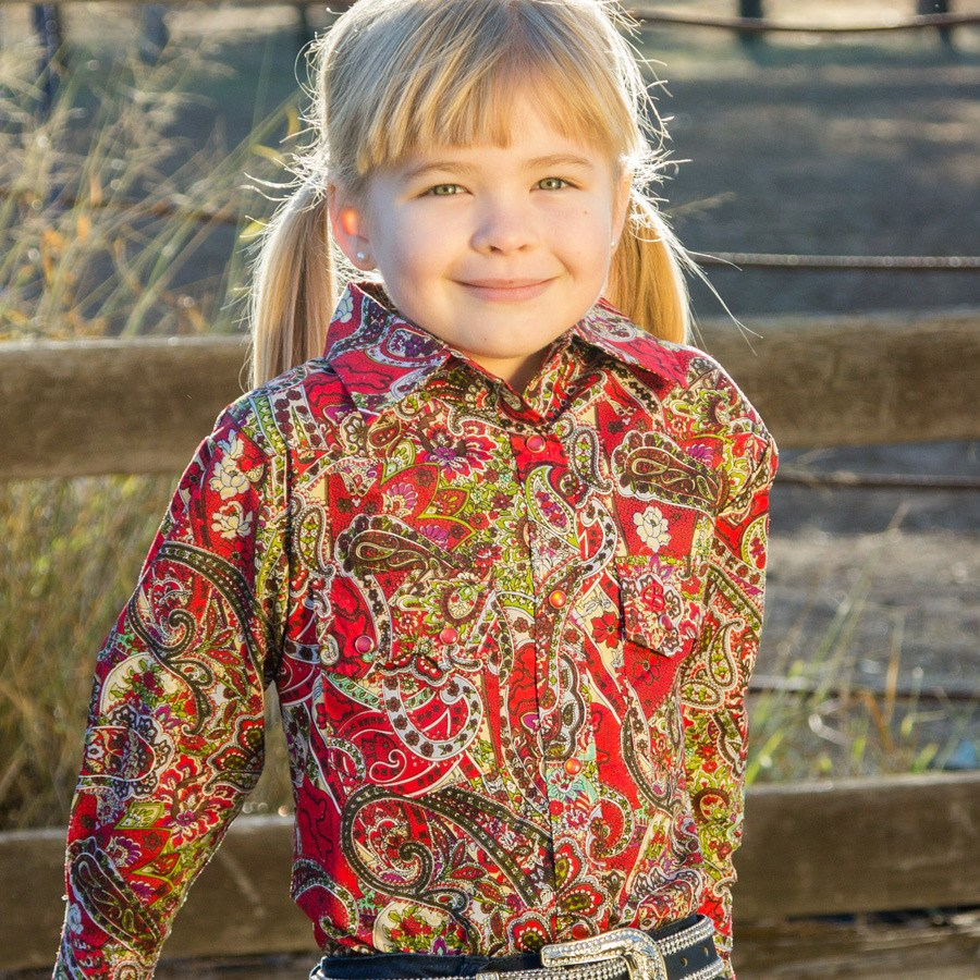 Girls Red Floral Shirt - Freestyle Saddlery
