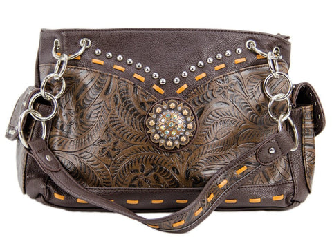 Brown Handbag Embossed - Freestyle Saddlery