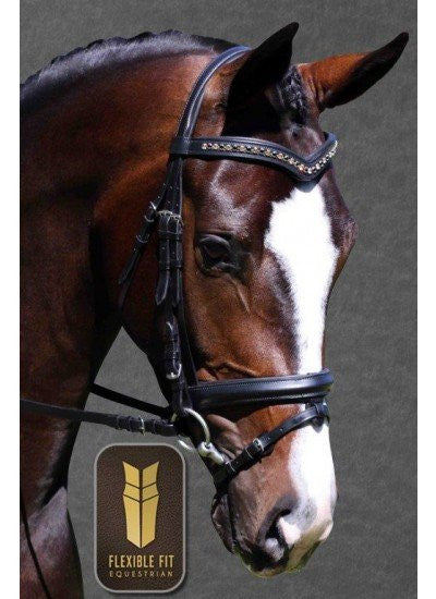 FFit Bridle Monocrown with Blk/Topaz crystal - Freestyle Saddlery