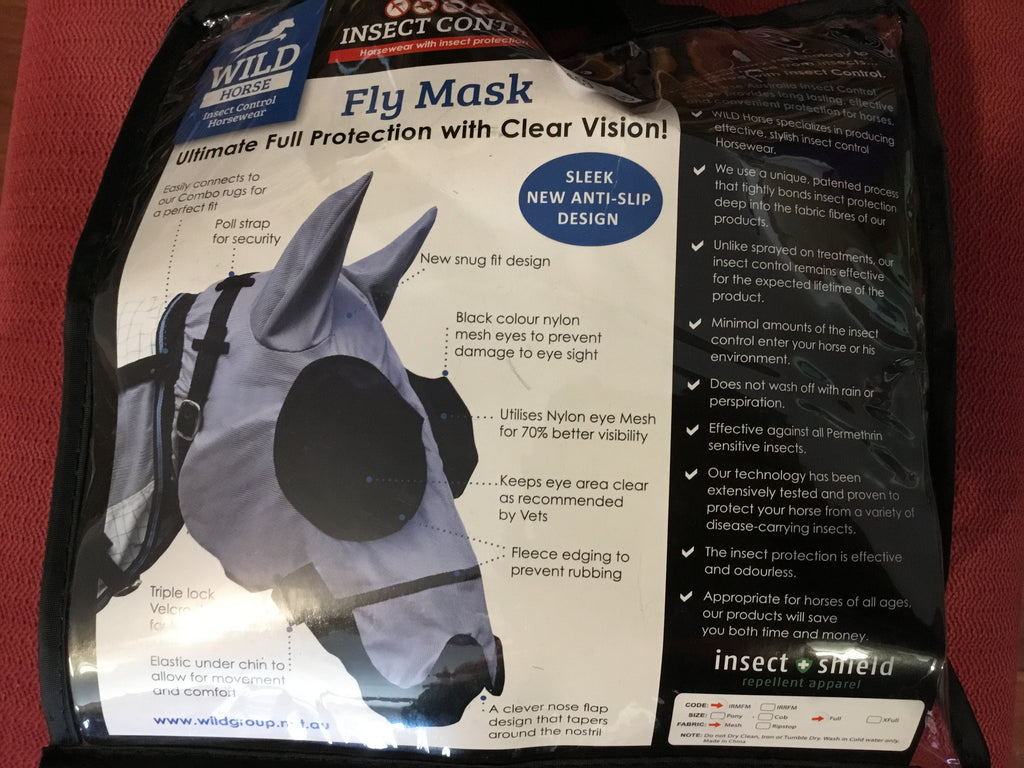 Wild Horse Fly Mask w/insect repellant Mesh IRMFM