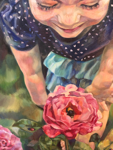 Large Closeup of Contemplation Painting of Girl Examining a Rose