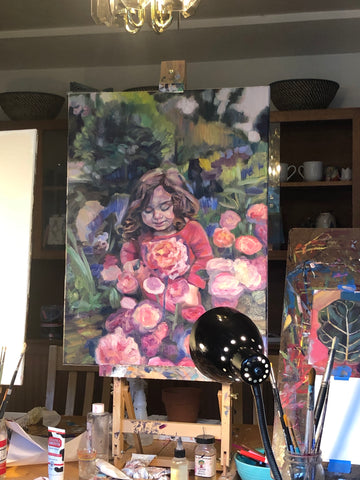 Work in Progress of Oil Painting of Girl Standing in a Rose Garden