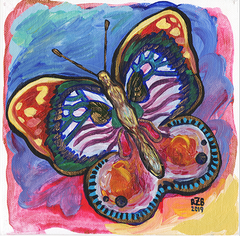 Butterfly Acrylic Painting on Canvas Panel Roxanne Zuniga Blackwood