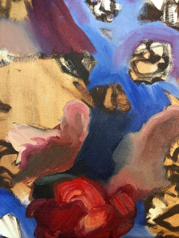 Closeup of a Work in Progress Oil Painting on Canvas