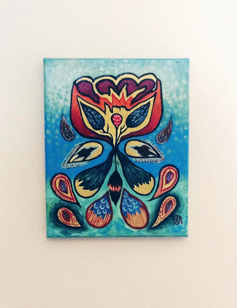 Flower with Seed Pods Acrylic Painting