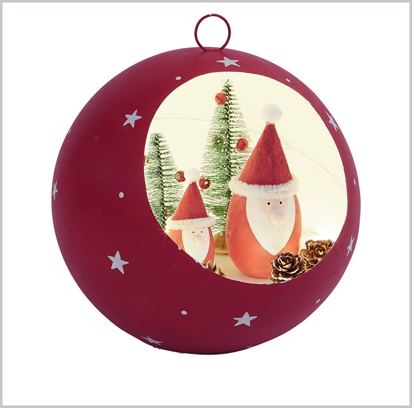 Red LED Santa bauble - Large