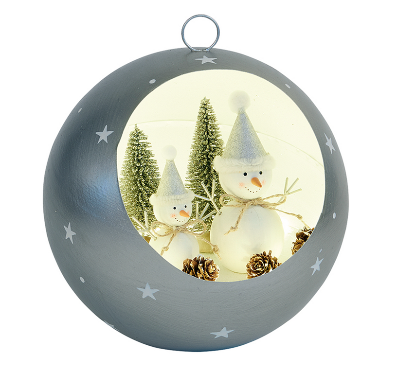 Silver LED Snowman bauble - Large