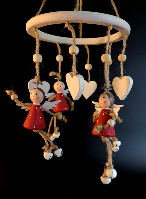 Red Wooden Angel Wind Chime