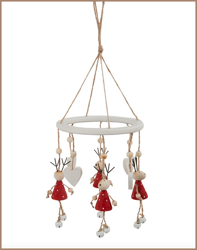 Red Wooden Reindeer Wind Chime