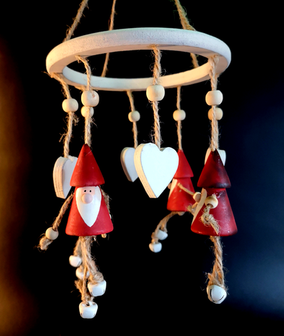 Red Wooden Santa Wind Chime