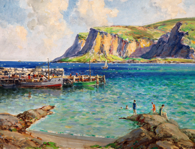 JAMES H CRAIG RHA RUA - Bathers on the pier Waterfoot Co Antrim