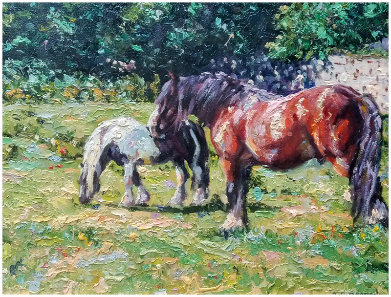 Pastoral scene with horses