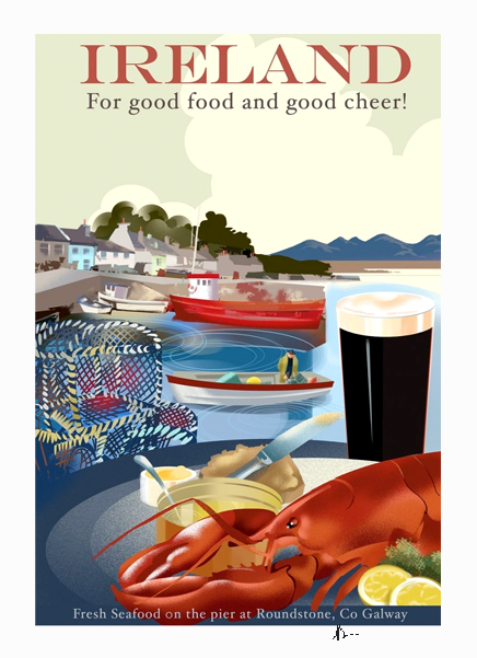 Roundstone, Galway - Irish Travel Posters