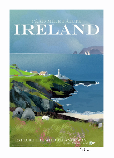 Cead Mile Failte - Ireland - Irish Travel Posters