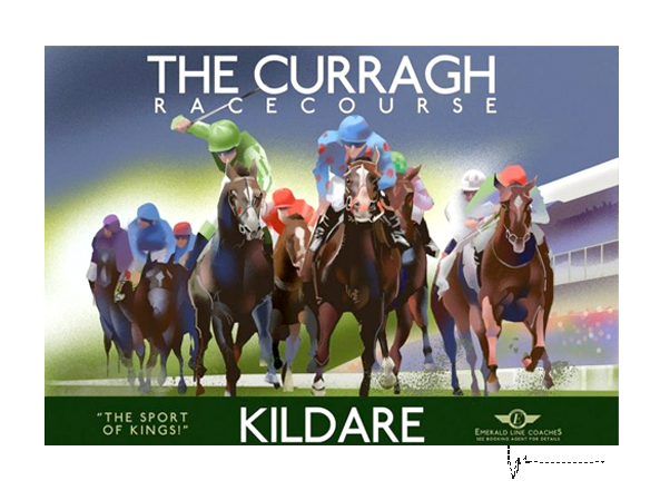 The Curragh, Kildare  - Irish Travel Posters