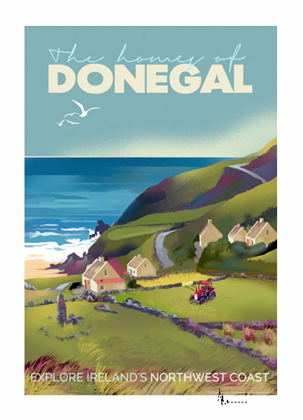 Donegal Cottages - Irish Travel Posters