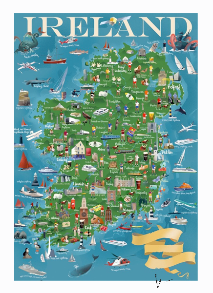 Ireland Map- Irish Travel Posters