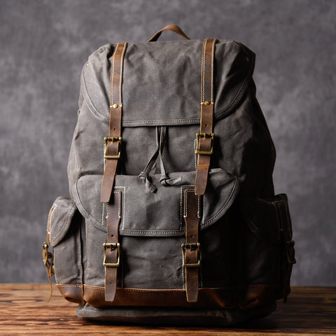 Handcrafted Waxed Canvas Leather Travel Backpack School Backpack Cool Hiking Rucksack MT09