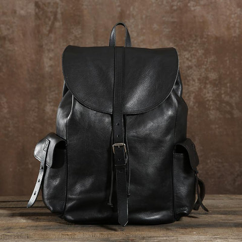 Handmade Genuine Leather Backpack Travel Backpack School Backpack in Black 9017
