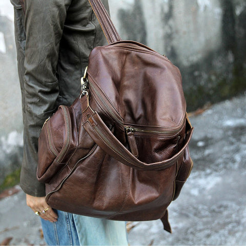 Handmade Original Design Leather Backpack Travel Rucksack School Backpack 14'' Laptop Bag AK10