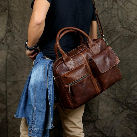 Handmade Dark Brown Top Grain Leather Briefcase Men's Handbag Messenger Bag 15'' Laptop Bag NZ03