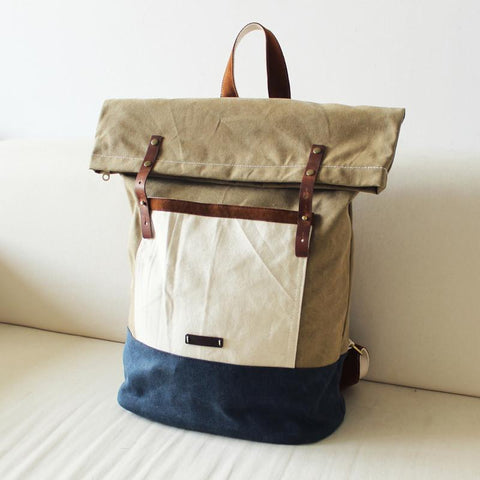 Original Waxed Canvas Backpack School Backpack Travel Backpack Laptop Bag 14143