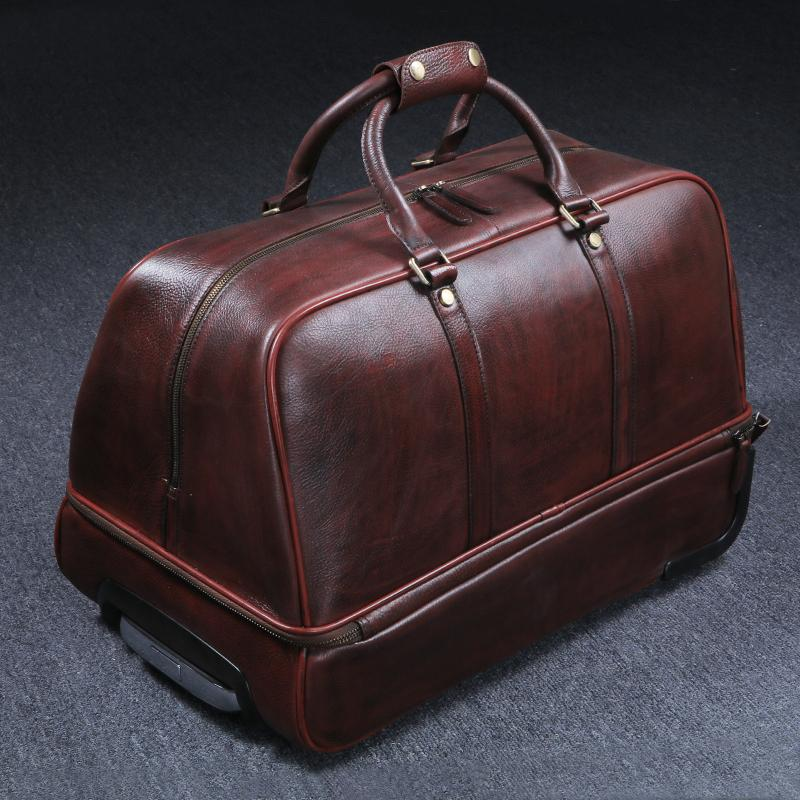 Vintage Full Grain Leather Travel Bag Trolley Bag Duffle Bag Holdall Luggage Bag HB01
