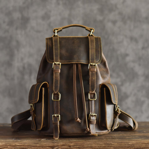 Vintage Leather Backpack Cool Hiking Rucksack Casual Leather Daypack in Dark Coffee MT15