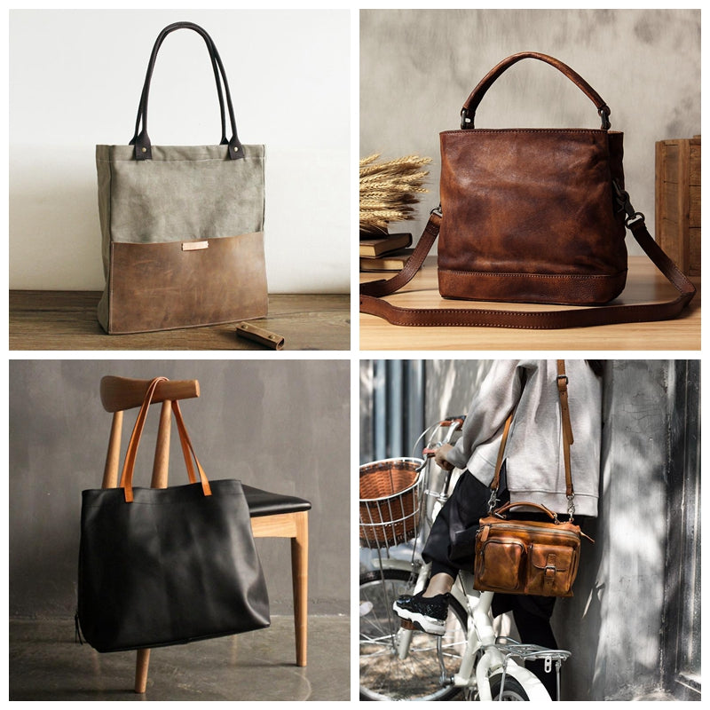 canvas and leather messenger bag tote bag women's fashion handbags