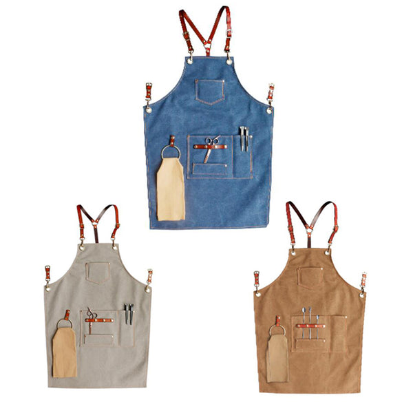 Canvas Apron Custom Logo Work Apron Studio Apron Painter Apron Workshop Apron Long Apron ZW219-7Z - LISABAG