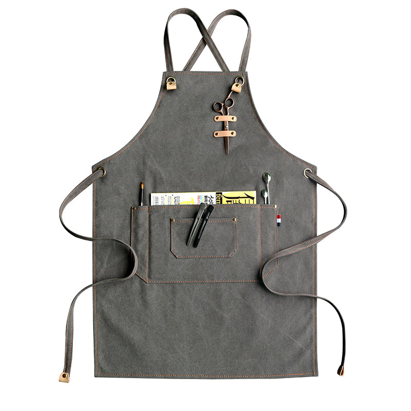 Canvas Apron Work Apron Custom Logo Server Apron Personalized Studio Apron Large Apron M75-2 - LISABAG