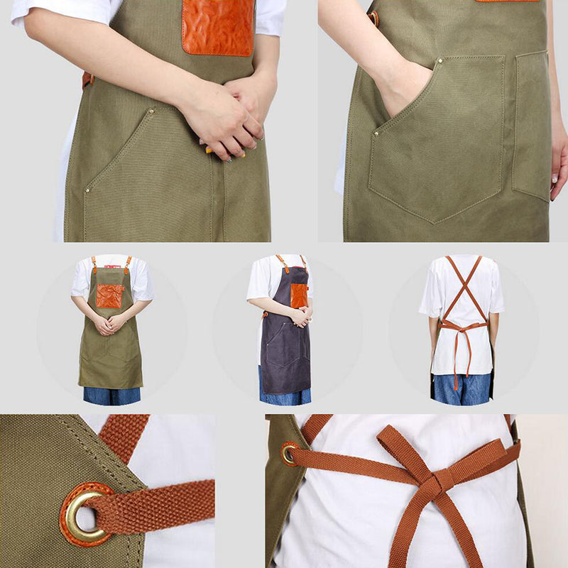Canvas Work Apron Long Apron Women Apron Cafe Apron Shop Apron Studio Apron Craftsman Apron ZFJX6033 - LISABAG